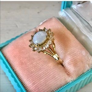 Vintage Oval Faux Opal Halo Cocktail Ring